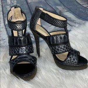 Alexandre Birman Snakeskin Open Toe Pumps Shoes 6